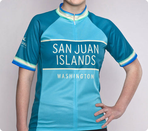 San Juan Islands Classic Racer Cycling Jersey Womens Turquoise Blue front