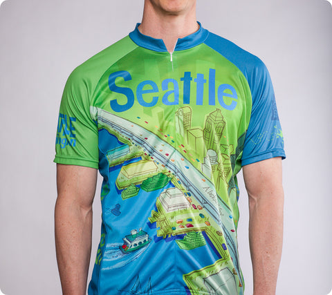 "Seattle Space Needle Cycling Jersey – ""Larry Gets Lost"" - Men's"