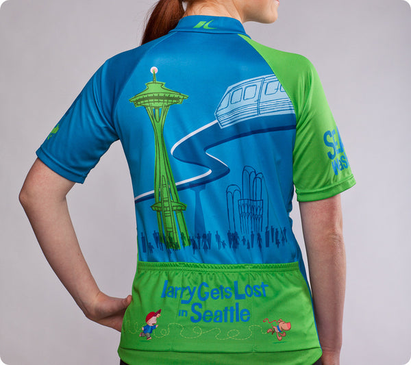 "Seattle Space Needle Cycling Jersey – ""Larry Gets Lost"" - Women's - back"