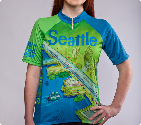 "Seattle Space Needle Cycling Jersey – ""Larry Gets Lost"" - Women's"