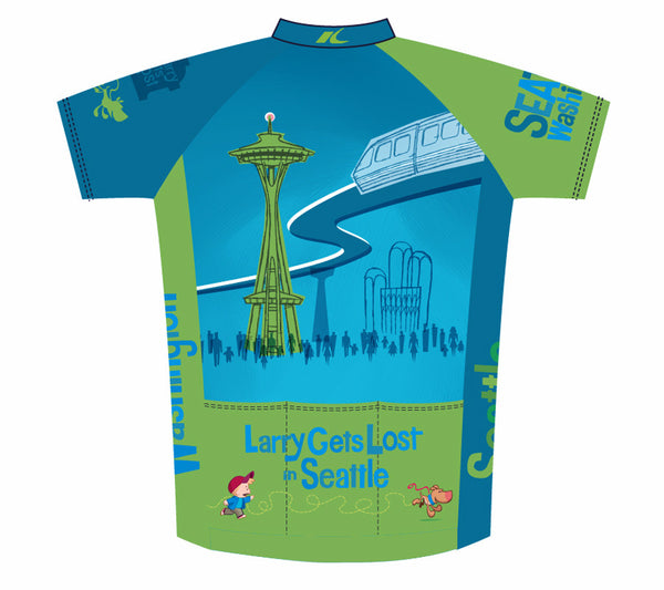 Seattle Space Needle Cycling Jersey - Larry Gets Lost - back art