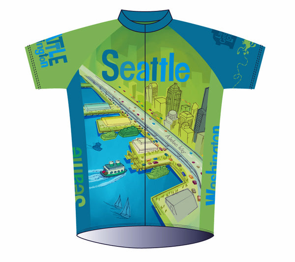 Seattle Space Needle Cycling Jersey - Larry Gets Lost - front art