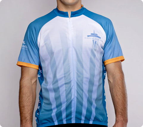 Seattle Space Needle Cycling Jersey 50th Anniversary Mens Blue front