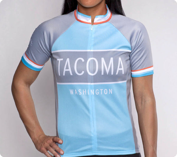 Tacoma Classic Racer Cycling Jersey Womens Light Blue front