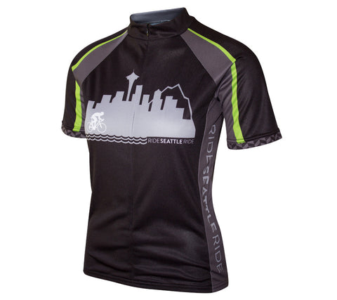 Womens-Black-Ride-Seattle-Skyline-Cycling Jersey-front