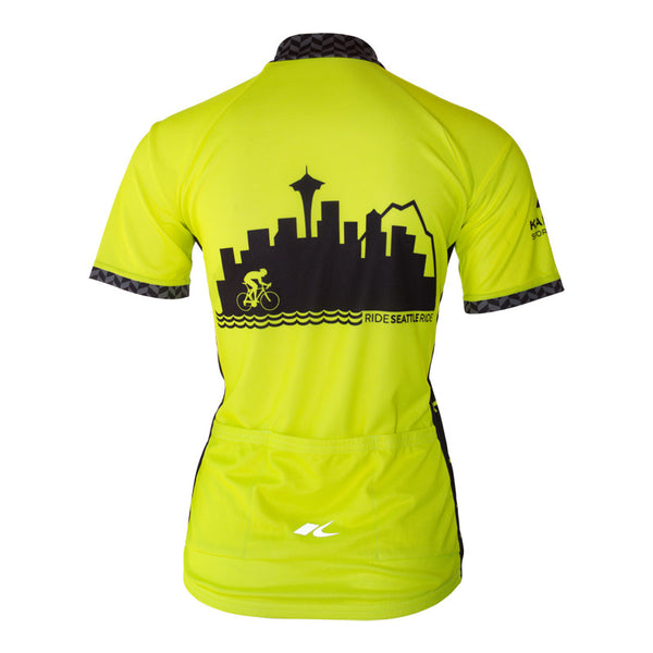 Womens-Seattle-Skyline-Cycling-Jersey-Hi-Vis-Yellow-back