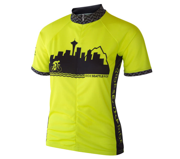 Womens-Seattle-Skyline-Cycling-Jersey-Hi-Vis-Yellow-front