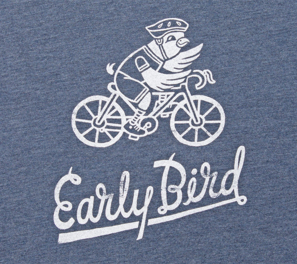 Early Bird Cycling - Indigo Blue T - Men's Triblend Short Sleeve T-shirt - closeup