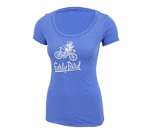 Early Bird Cycling - Royal T - Women's Triblend Scoop Short Sleeve T-shirt - front 1