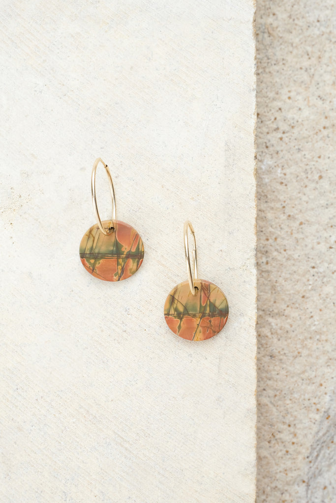 Jasper Coin Earrings