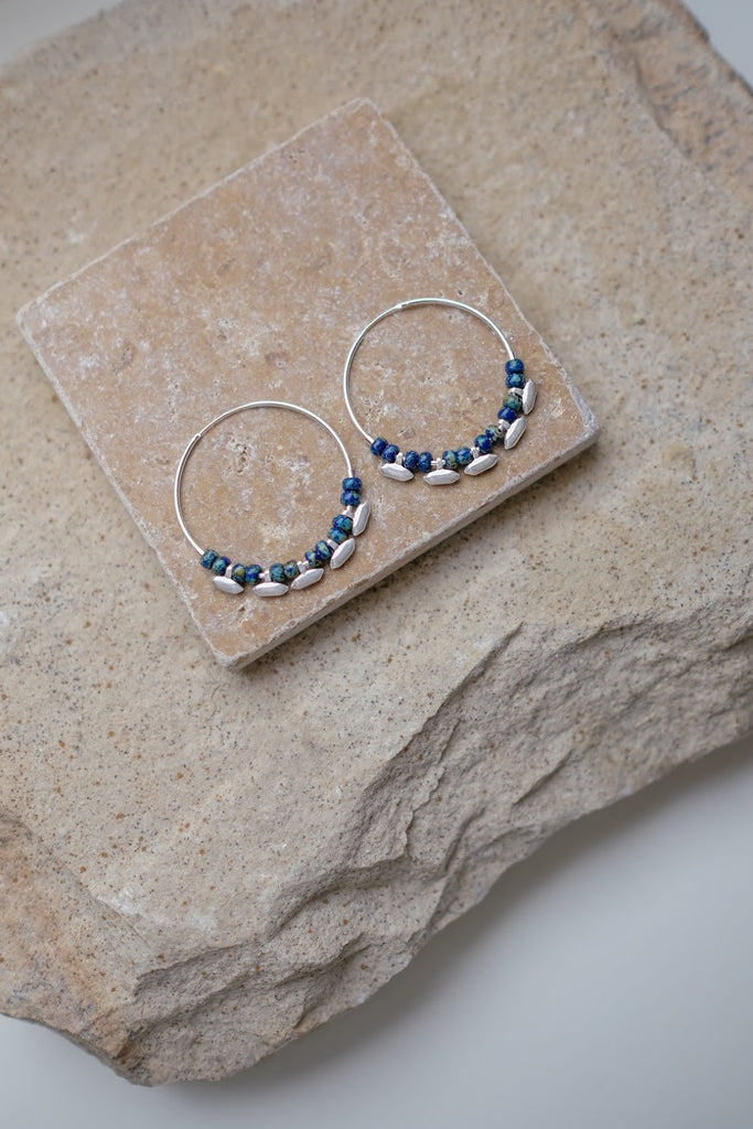 Madison Hoops Silver & Cobalt
