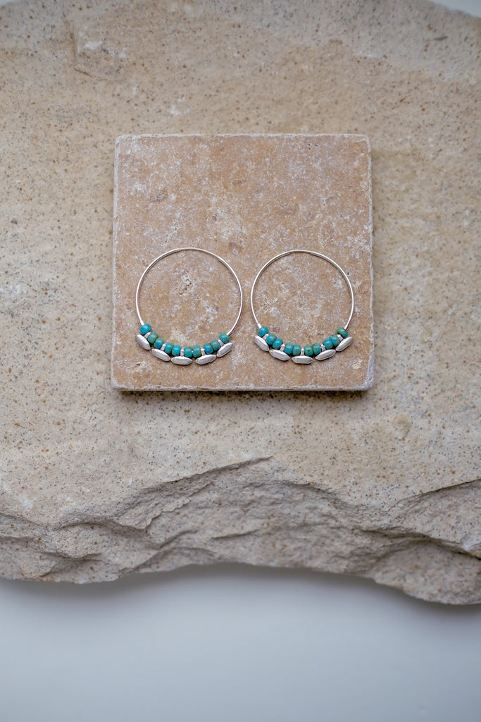 Madison Hoops Silver & Turquoise