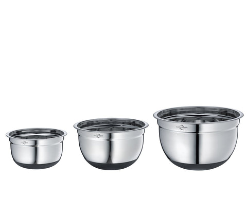 Mixing Bowls, Non-Slip w/ Silicone Bottoms, 3 Piece Set - Küchenprofi USA