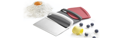 Scraper 3 pc Set: dough cutter, curved edge and flat edge scraper - Küchenprofi USA