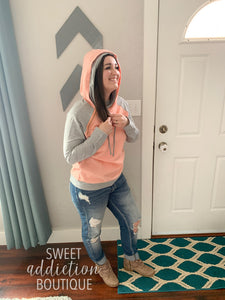 Quilted Double Hoodie Top [Peach Pink]