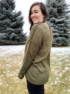 Up For An Adventure V-neck Sweater [Olive Green]