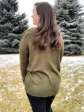 Load image into Gallery viewer, Up For An Adventure V-neck Sweater [Olive Green]