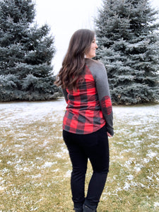 Cabin Fever Elbow Patch Top [Buffalo Plaid]