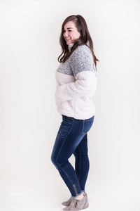 Winter Dreams Quarter Zip Sherpa Pullover [Charcoal Gray & Ivory]