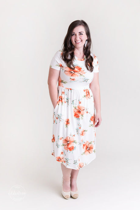 No Second Guessing Pocket Dress [Coral & Ivory Floral]