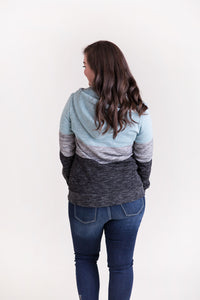 Feels Like Love Quarter Zip Hoodie Pullover [Marled Blue]