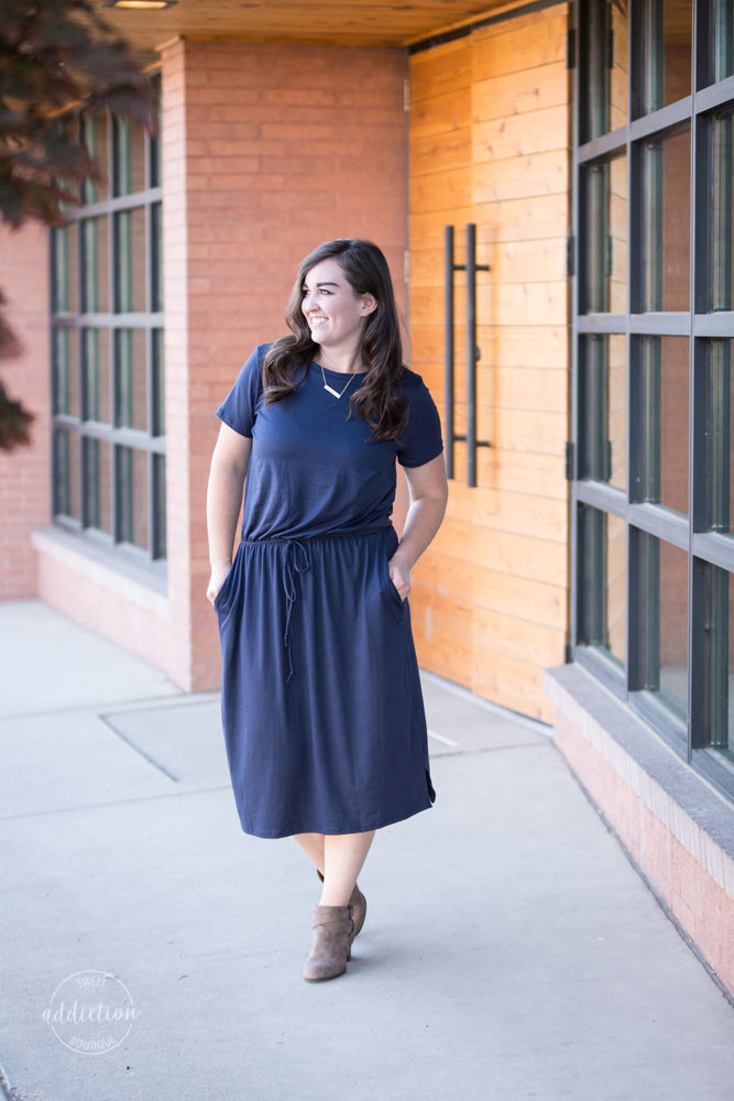 Nowhere I'd Rather Be Pocket Dress [Solid Navy]