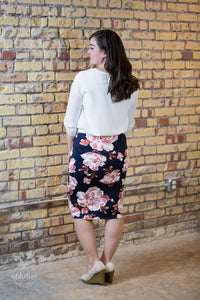 Dress For Success Pencil Skirt [Navy Floral]