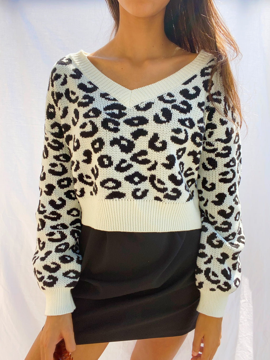 Leopard Chunky Cropped Sweater