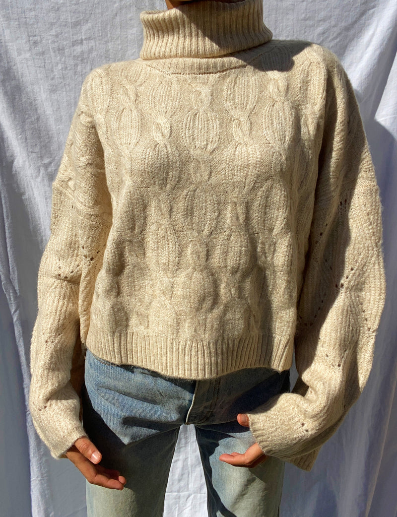 Bundled up Turtleneck Knit Sweater