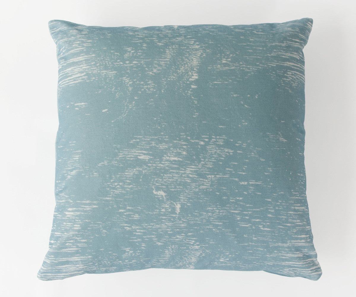 Wood Grain Study Print Velvet Pillow in Pastel Blue