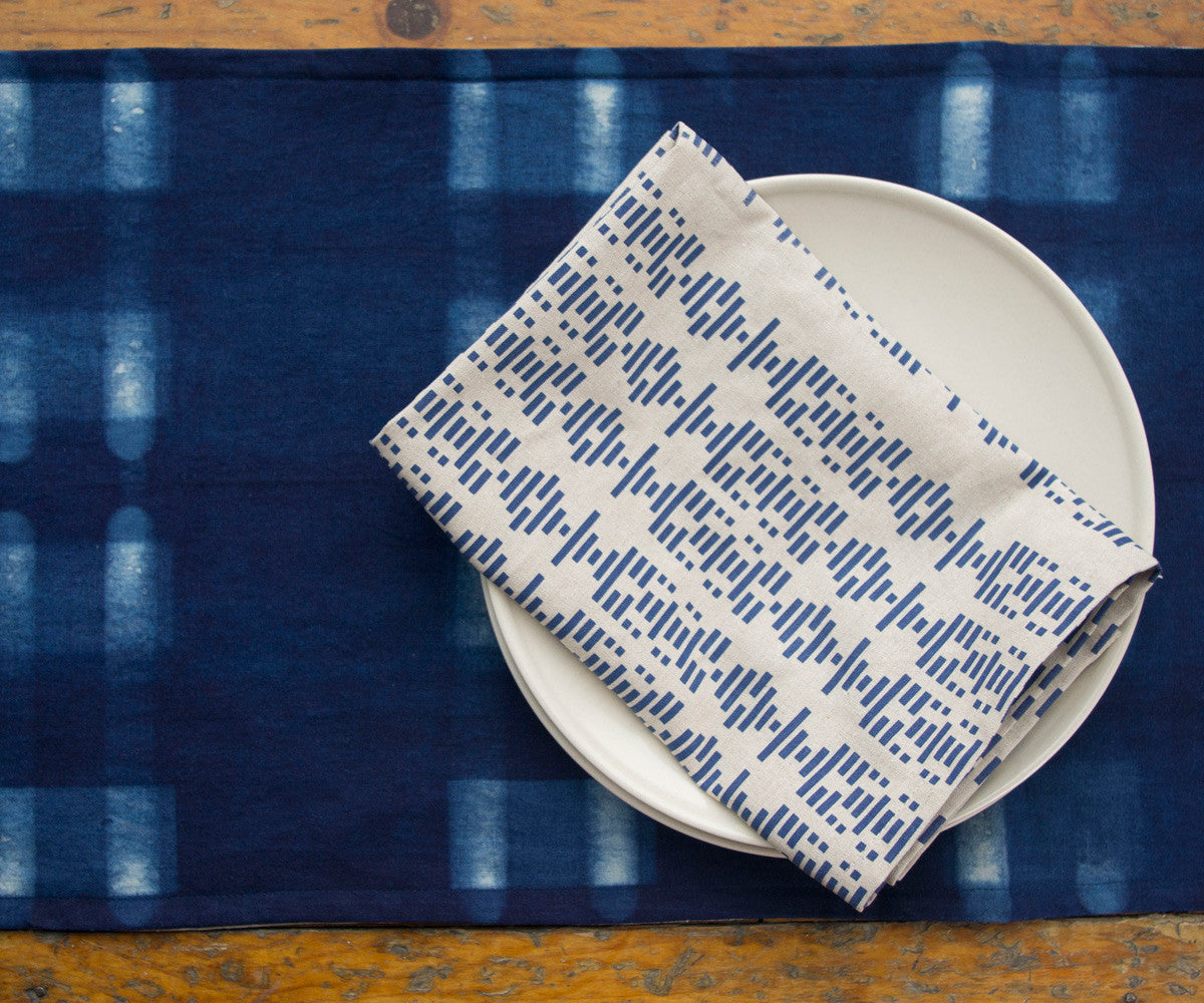Shibori Resist Dyed Indigo Table Runner