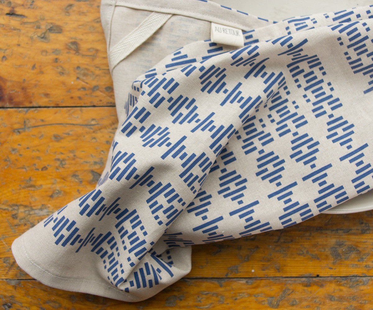 Broken Lines Tea Towel in Indigo