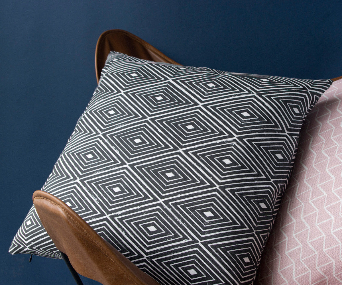 Diamond Print Pillow in Black