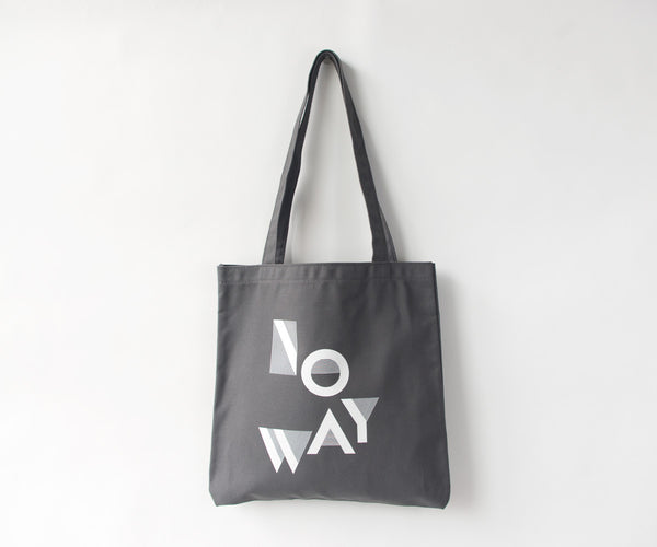 NO WAY Canvas Tote in Grey and White