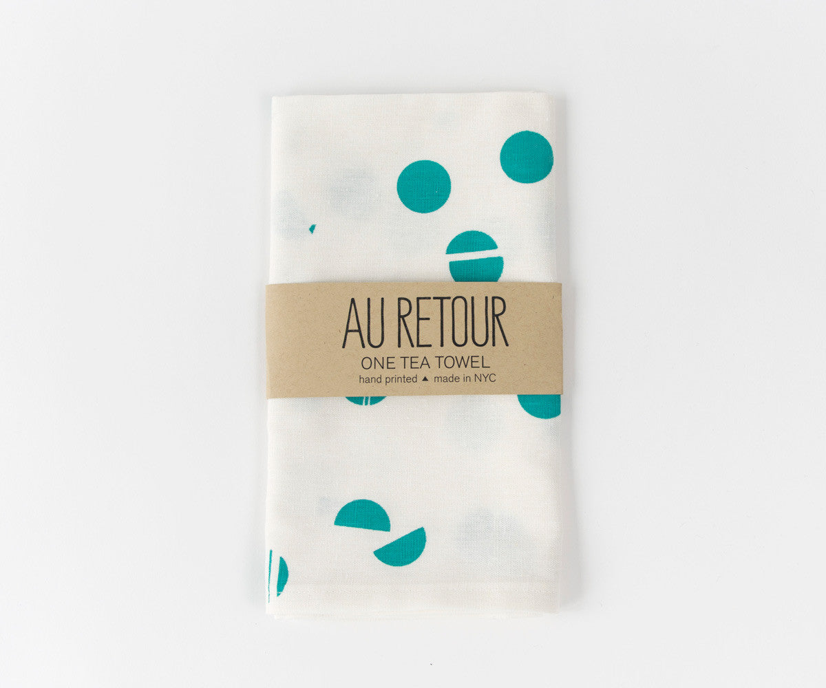 Confetti Drop Teal Towel in Teal