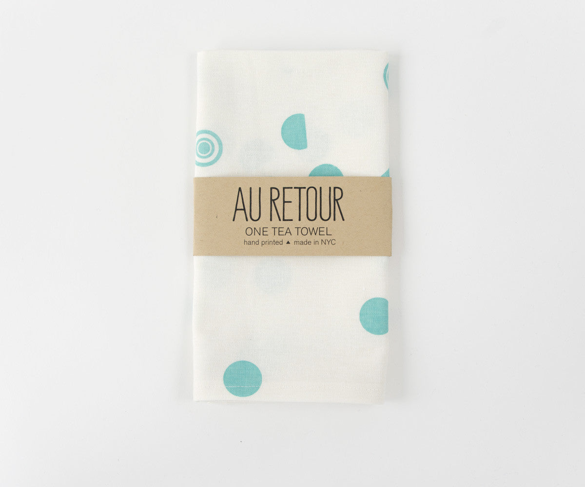 Confetti Drop Teal Towel in Mint