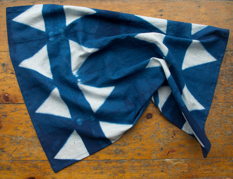 Triangles Indigo Shibori Dyed Teal Towel