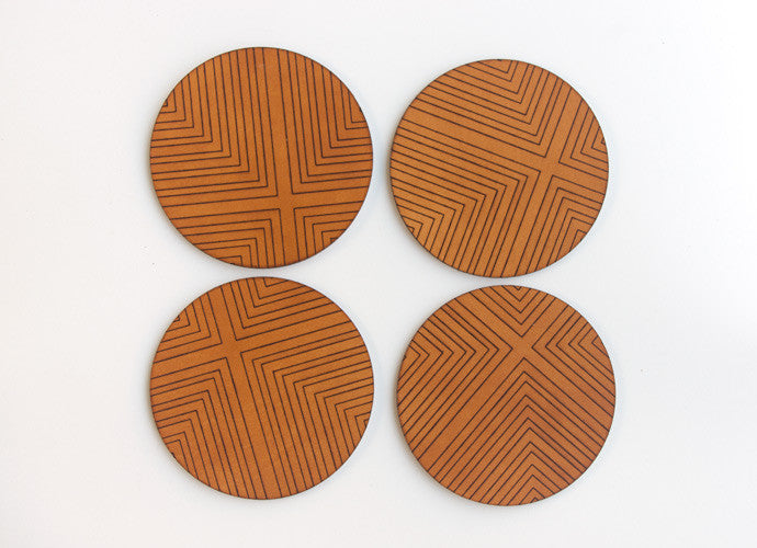 Four Corners Engraved Leather Coasters