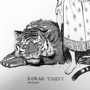 Ink Wash Drawing of Korad Thevi