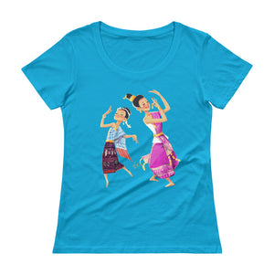 Lao Traditional Dancers Scoopneck T-Shirt
