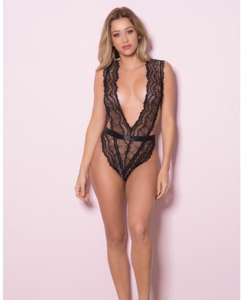 Lace Teddy w/Wide Waistband, Side Ties & Thong Back Black