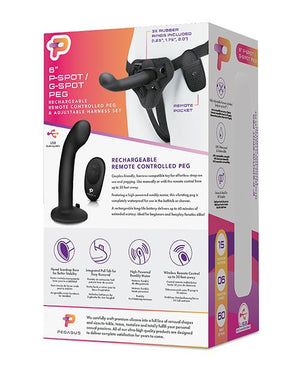 "Pegasus 6"" Rechargeable P-spot G-spot Peg W/adjustable Harness & Remote Set - Black"
