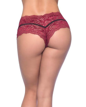 Odette Soft Lace Panty Boyshort w/Decorative Elastic Rhubarb