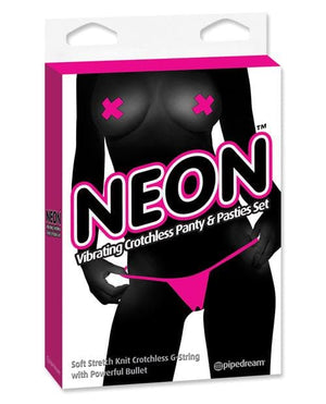 Neon Luv Touch Vibrating Crotchless Panties & Pastie