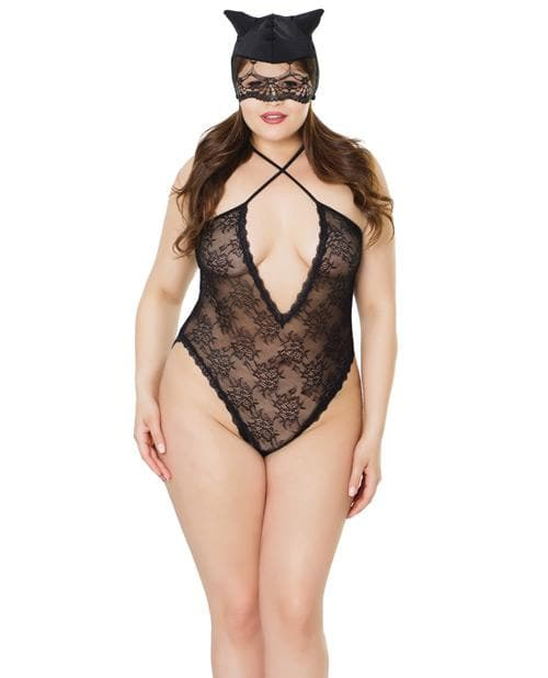 Fashion Stretch Lace Kitty Teddy & Mask Black Qn