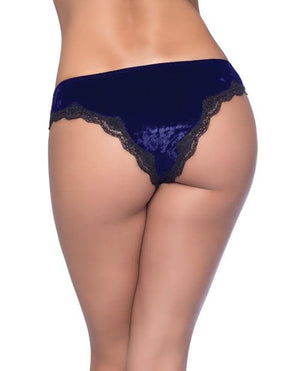 Amalie Crushed Velvet Tanga Panty w/Lace Up Detail