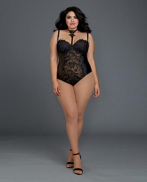 Venice Lace & Stretch Faux Leather Teddy W/snap Crotch