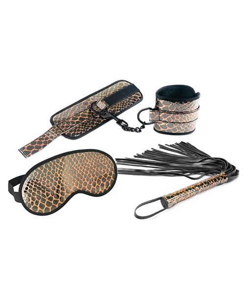 Spartacus Faux Leather Wrist Restraints Blindfold & Flogger Bondage Kit - Gold