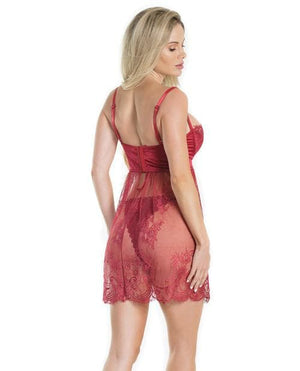 Lightly Padded Demi Cup & Fine Lace Skirt Babydoll & Adjustable Crotchless Panty