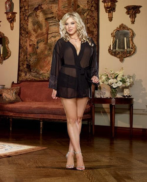 Chiffon & Stretch Lace Short Length Kimono Robe & Cheeky Panty - Curvy